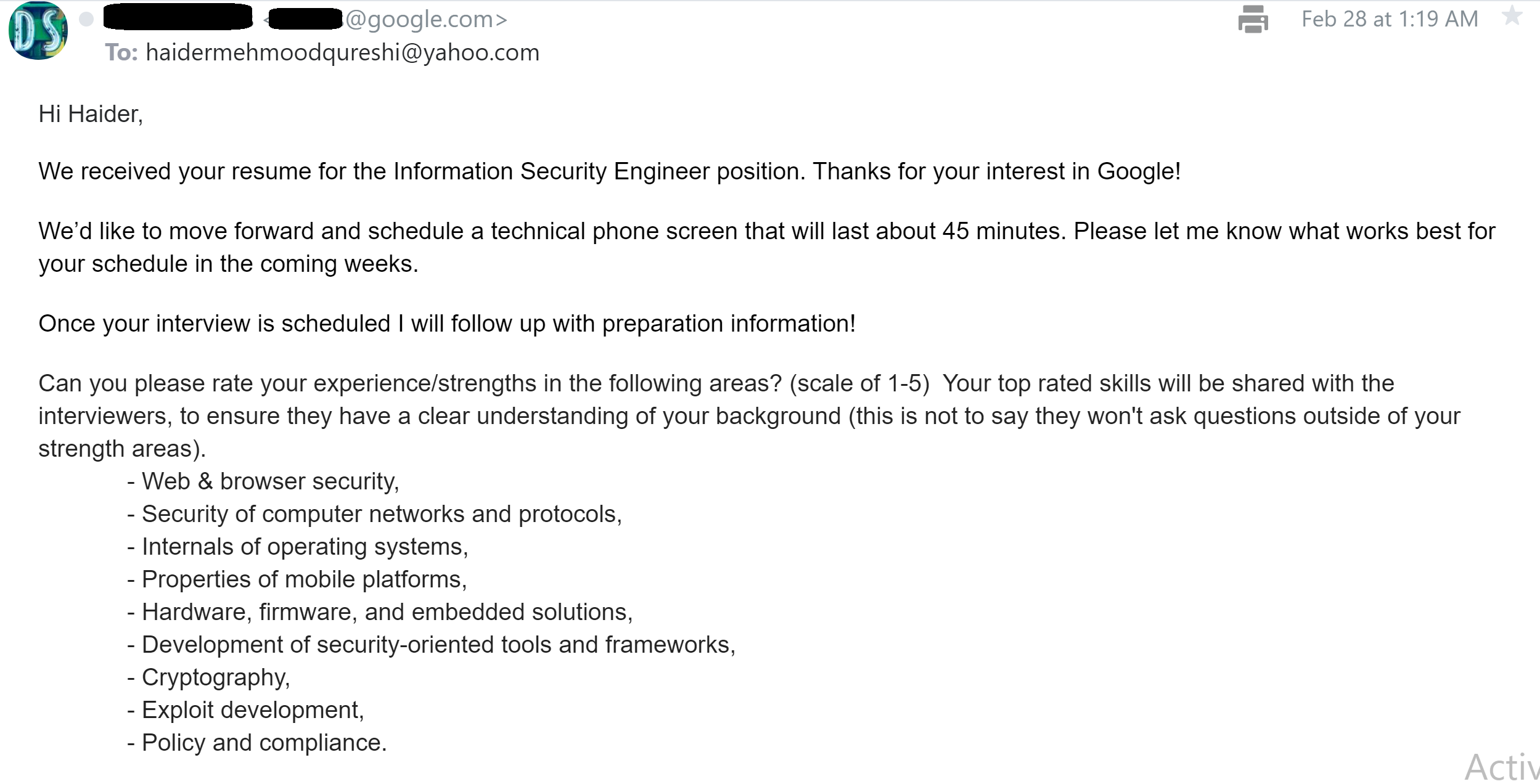 Google Interview Information security engineer