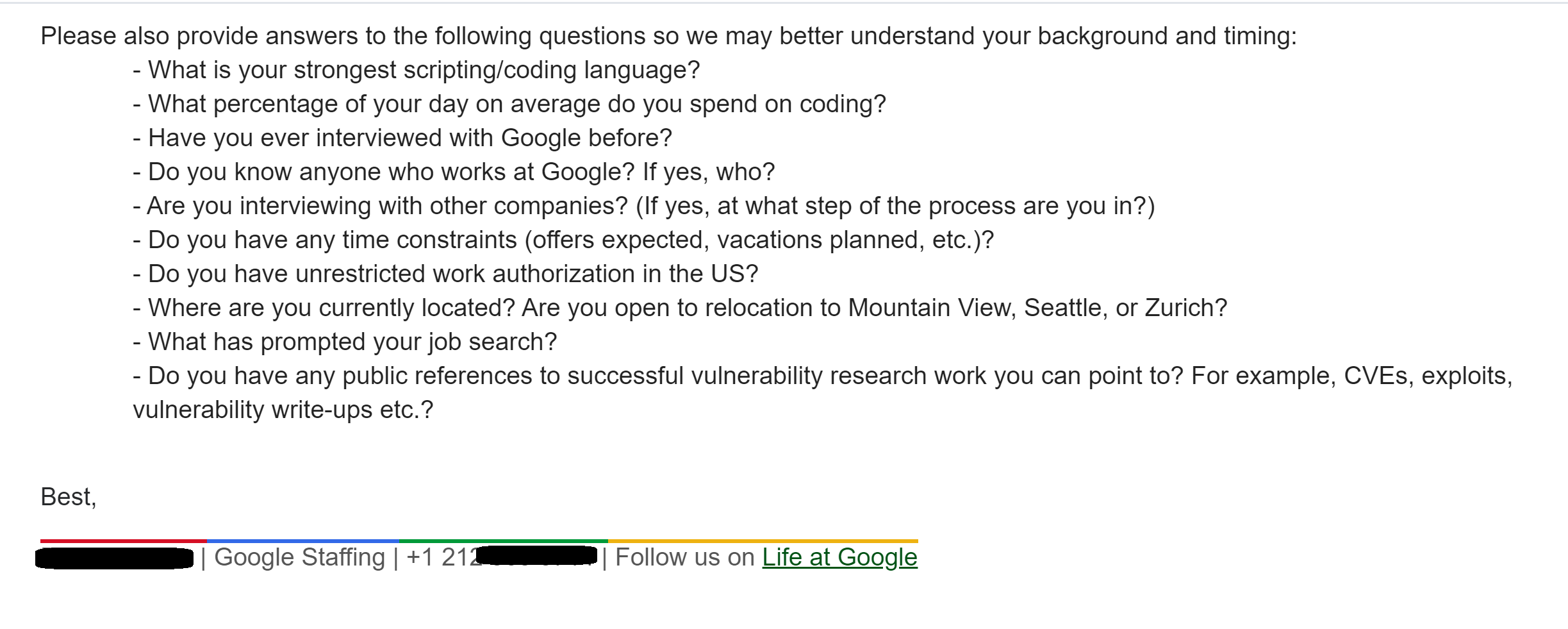 Google interview questions information security engineer