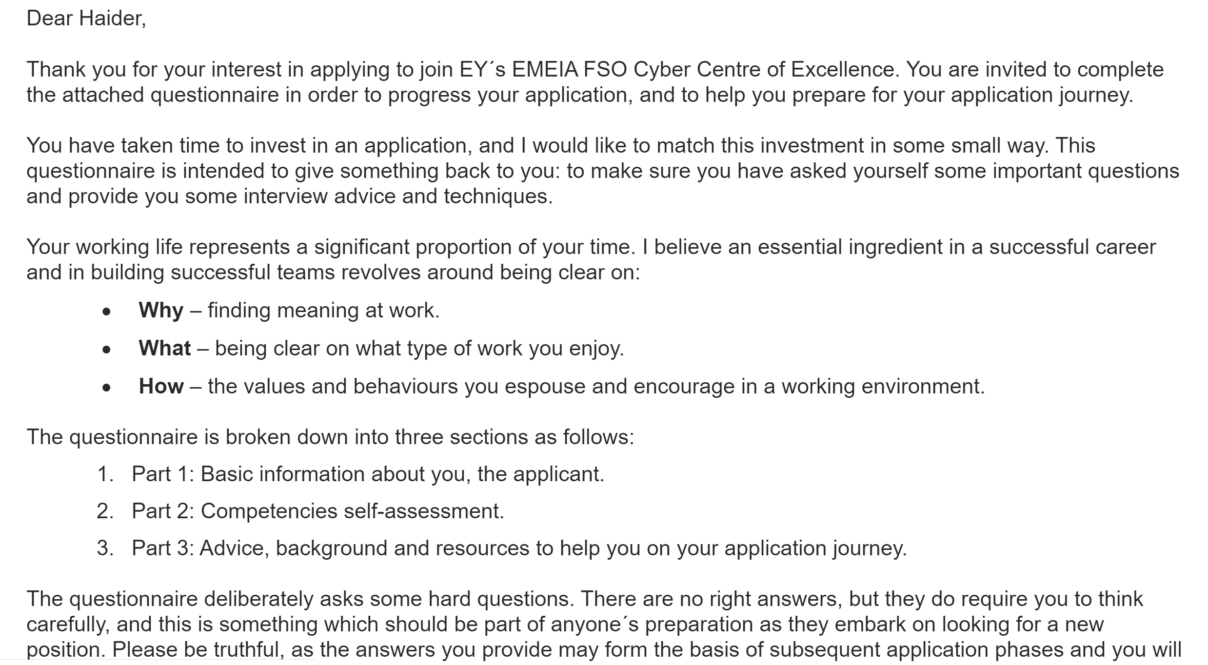 EY Interview questionaire
